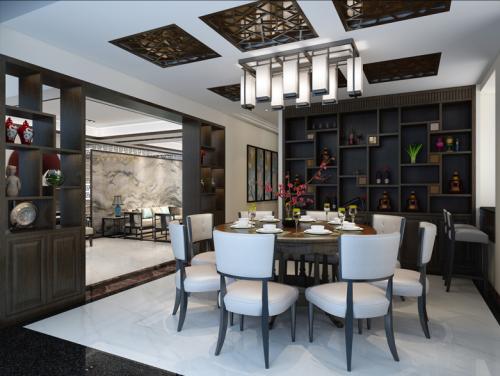 明亮200平中式别墅餐厅实拍图厨房瓷砖151-200m²别墅豪宅中式现代家装装修案例效果图