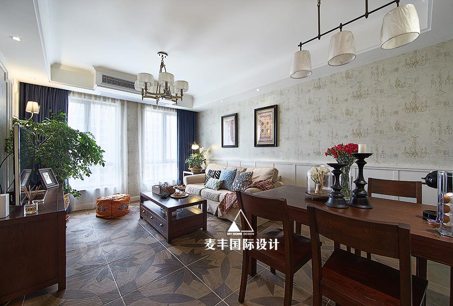轻奢69平美式二居餐厅装修装饰图厨房窗帘美式经典餐厅设计图片赏析