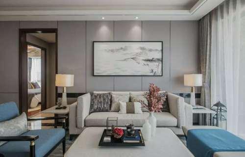 典雅139平现代三居客厅装修设计图客厅窗帘121-150m²三居家装装修案例效果图
