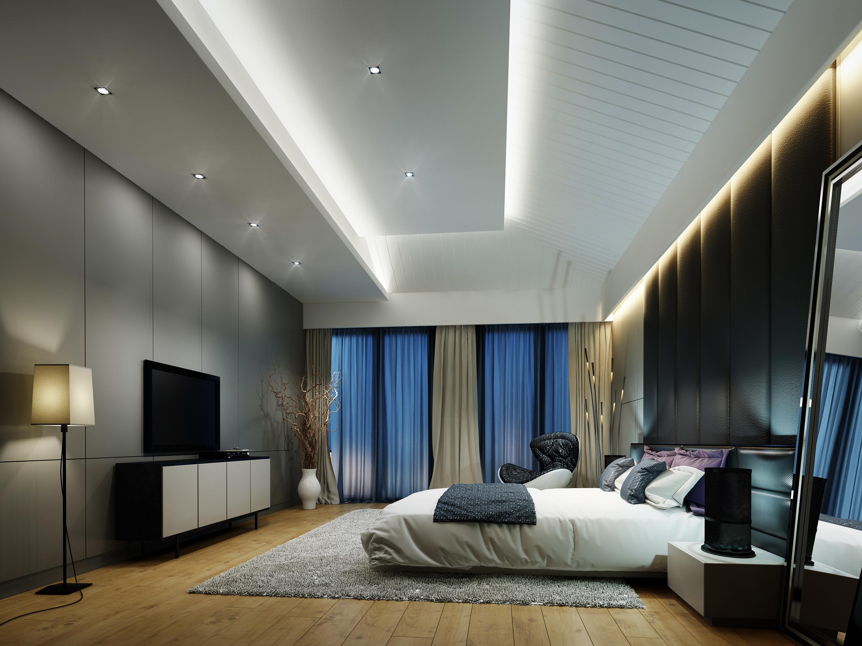 浪漫988平LOFT别墅卧室装修装饰图卧室窗帘潮流混搭卧室设计图片赏析