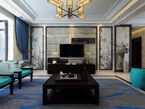 大气120平中式三居客厅布置图客厅窗帘101-120m²三居中式现代家装装修案例效果图