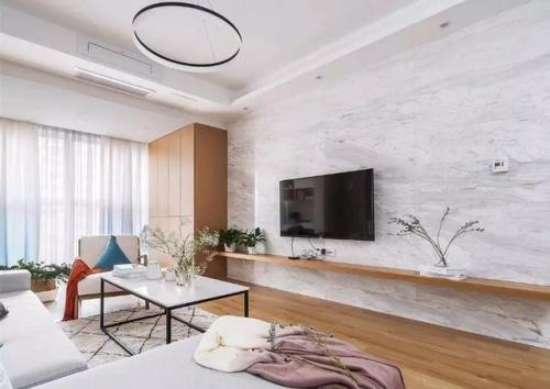 大气85平北欧二居客厅布置图客厅电视背景墙81-100m²二居家装装修案例效果图