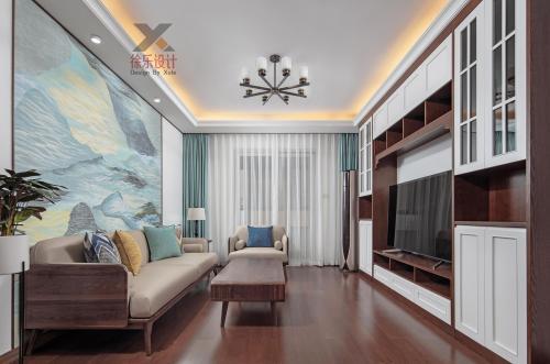 轻奢120平中式三居客厅设计图客厅窗帘101-120m²三居中式现代家装装修案例效果图