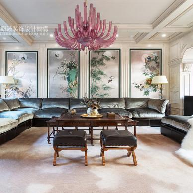 法式浪漫别墅客厅装饰画设计