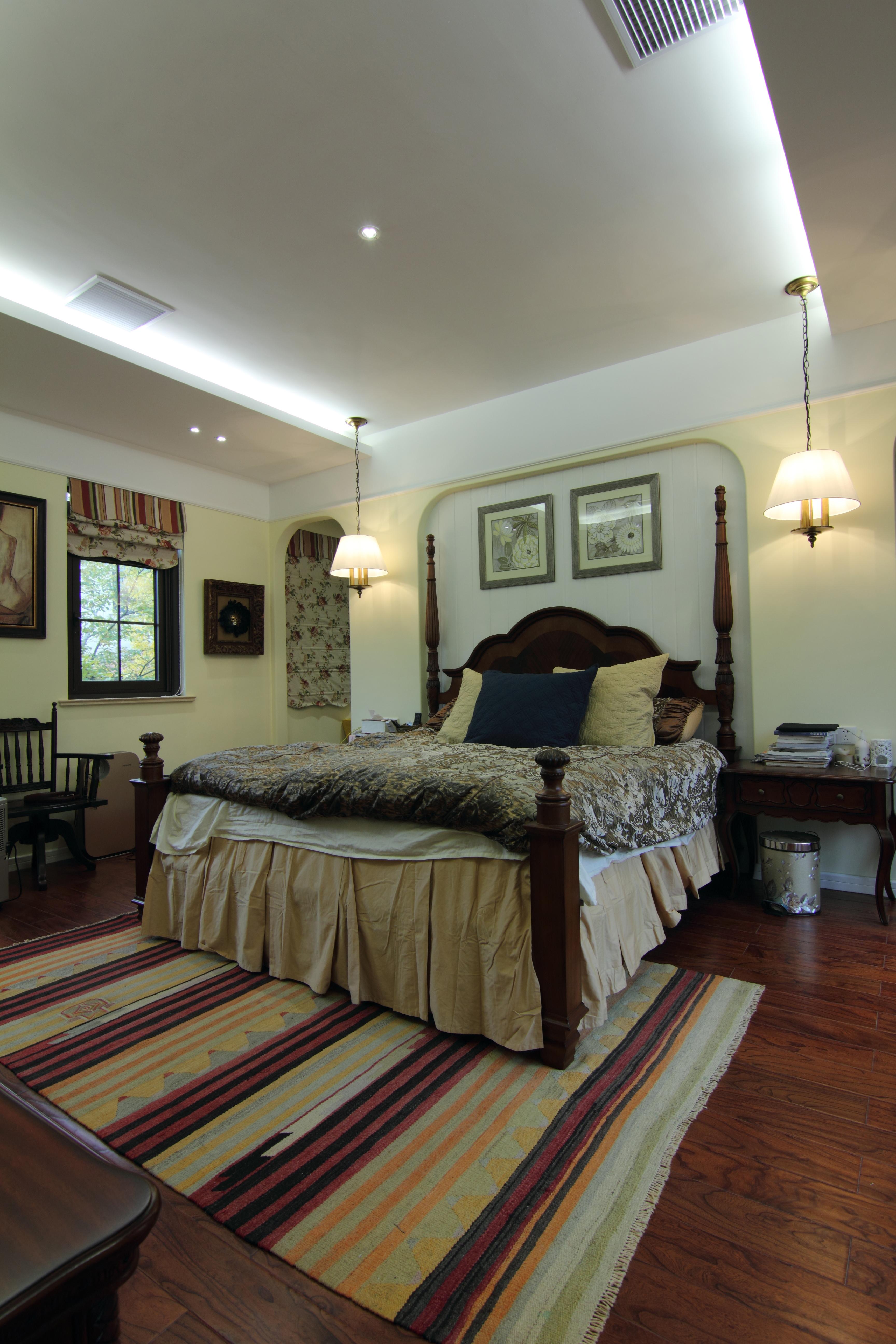 浪漫420平美式别墅卧室装潢图卧室窗帘美式经典卧室设计图片赏析