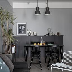 灰黑色北欧风餐厅设计图