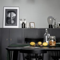 灰黑色北欧风餐厅实景图片
