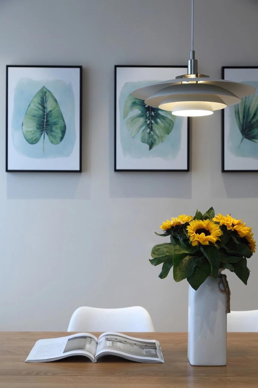 轻奢85平北欧三居餐厅装修图片厨房北欧极简餐厅设计图片赏析