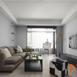 极简现代客厅实景图