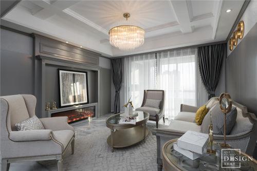 优雅浪漫客厅实景设计客厅窗帘151-200m²四居及以上美式经典家装装修案例效果图