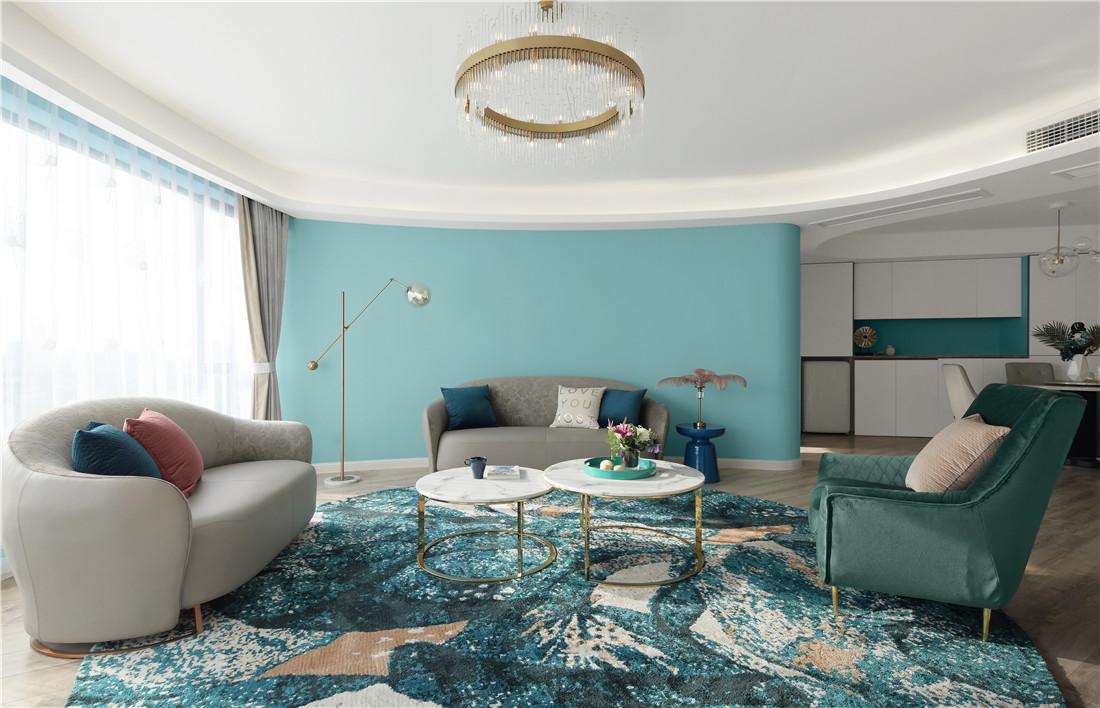 蒂芙尼蓝色现代风客厅沙发图客厅1图现代简约客厅设计图片赏析