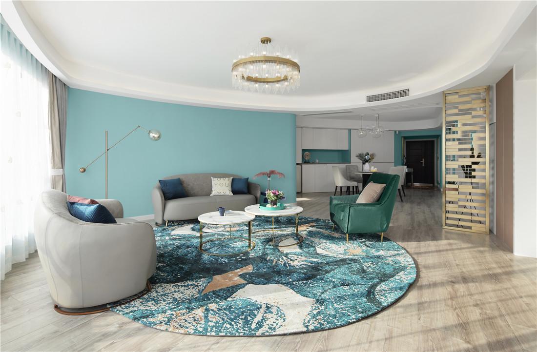 蒂芙尼蓝色现代风客厅吊灯图客厅2图现代简约客厅设计图片赏析