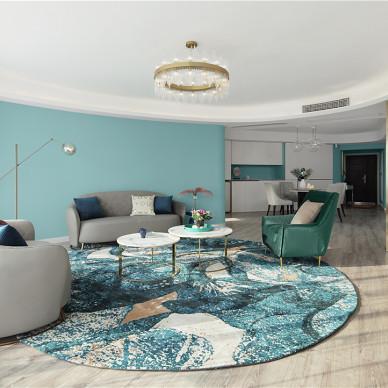 蒂芙尼蓝色现代风客厅吊灯图