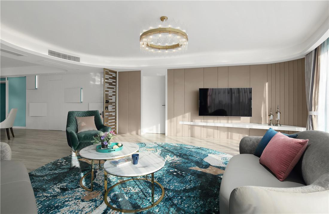 蒂芙尼蓝色现代风客厅背景墙设计客厅3图现代简约客厅设计图片赏析