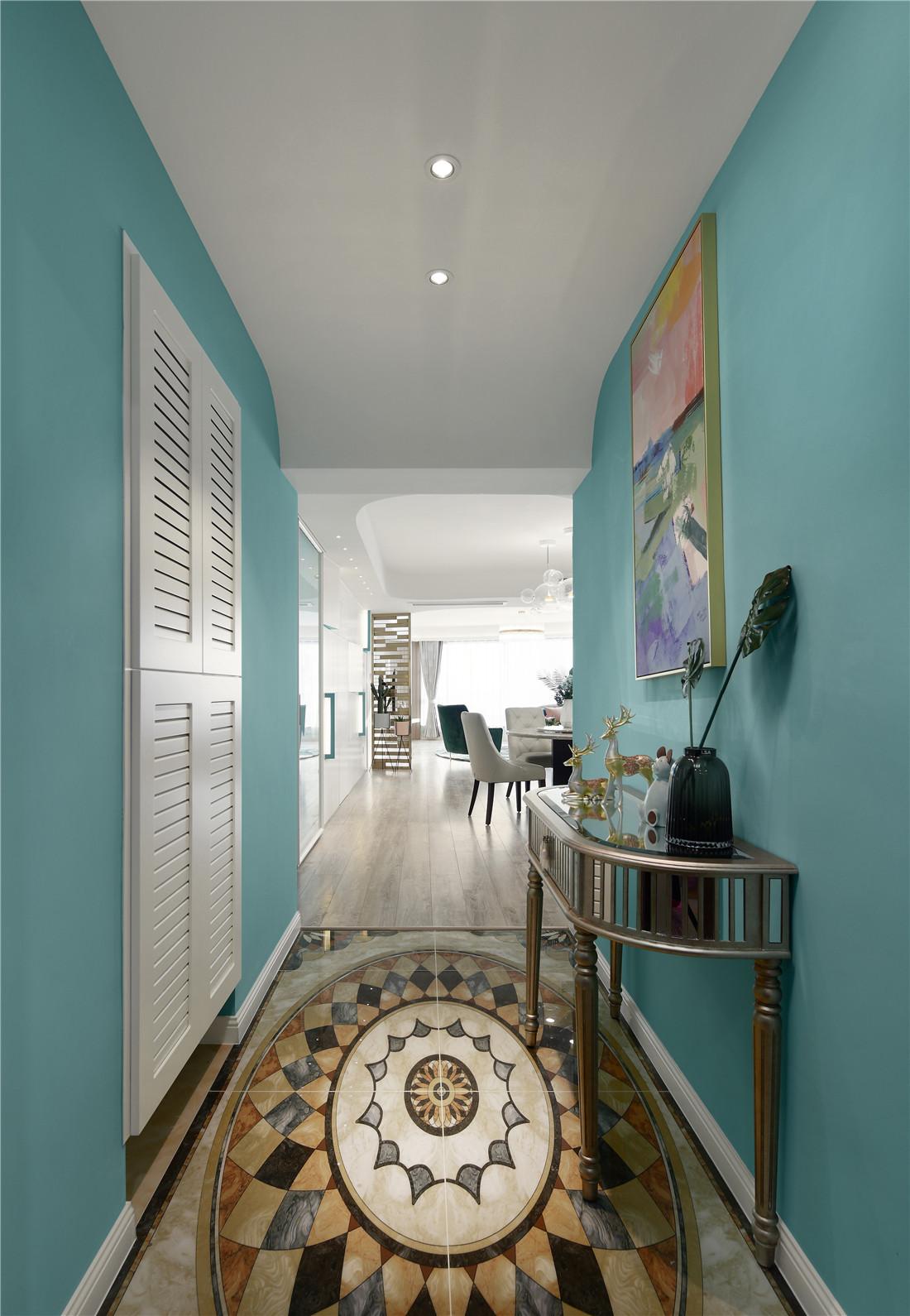 蒂芙尼蓝色现代风玄关设计图玄关现代简约玄关设计图片赏析