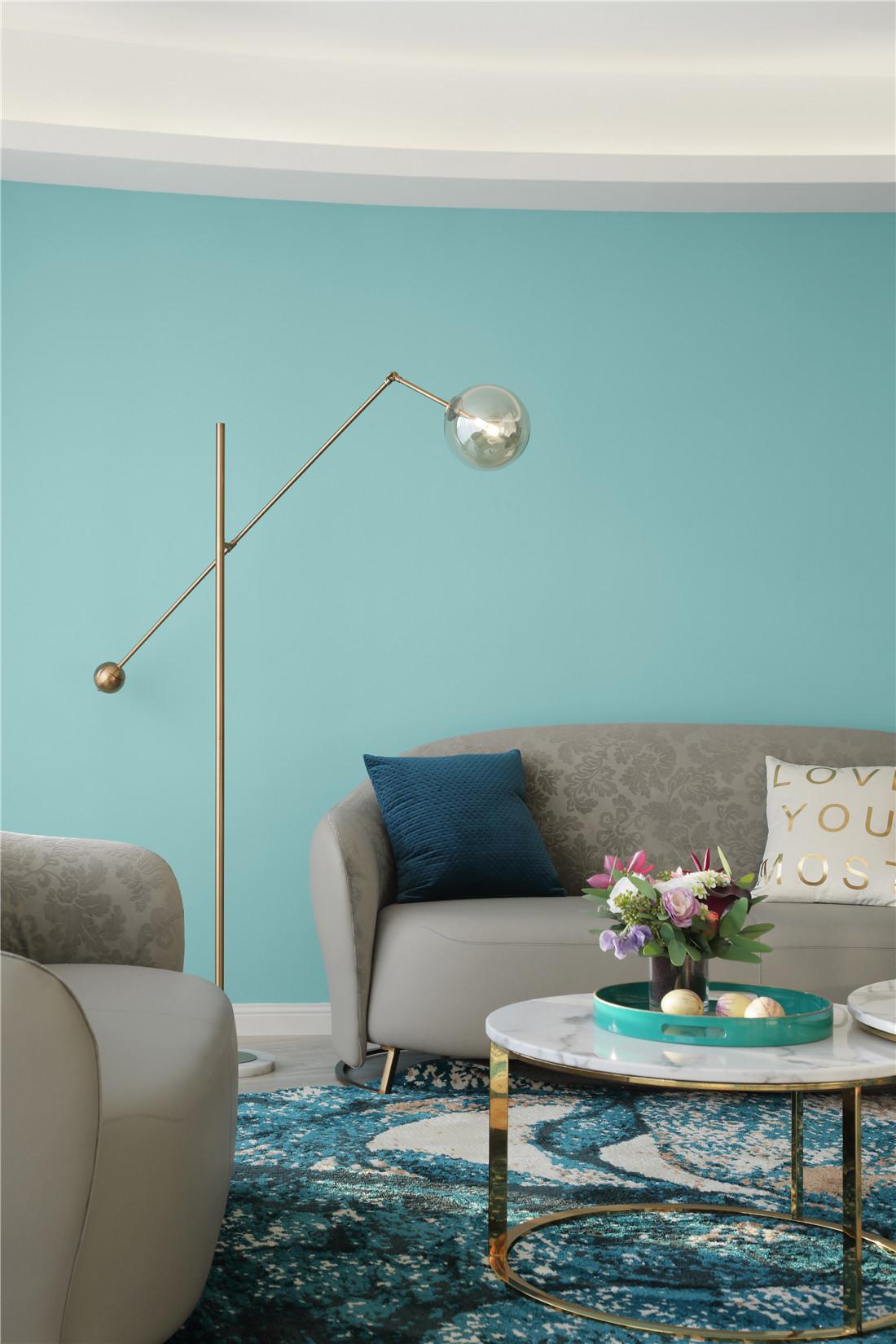 蒂芙尼蓝色现代风客厅落地灯设计客厅4图现代简约客厅设计图片赏析