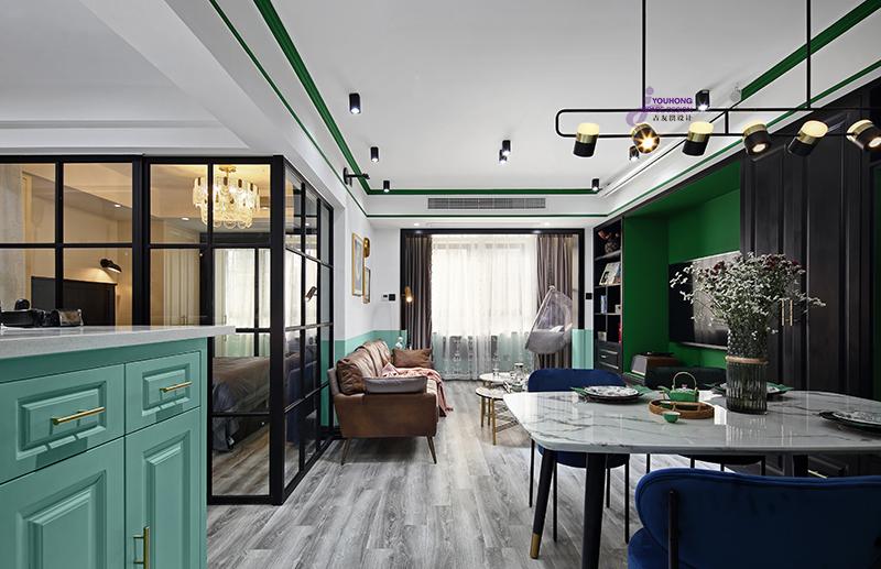 80平北欧风客厅餐厅一体设计客厅