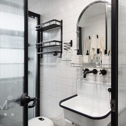 75㎡自然混搭卫浴洗手台设计