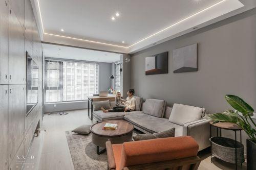 舒适混搭风客厅沙发图片客厅窗帘81-100m²一居潮流混搭家装装修案例效果图
