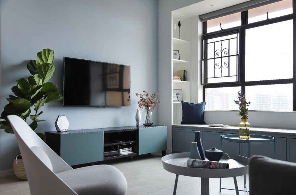 《清风微蓝》北欧风客厅电视柜设计客厅电视柜北欧极简客厅设计图片赏析
