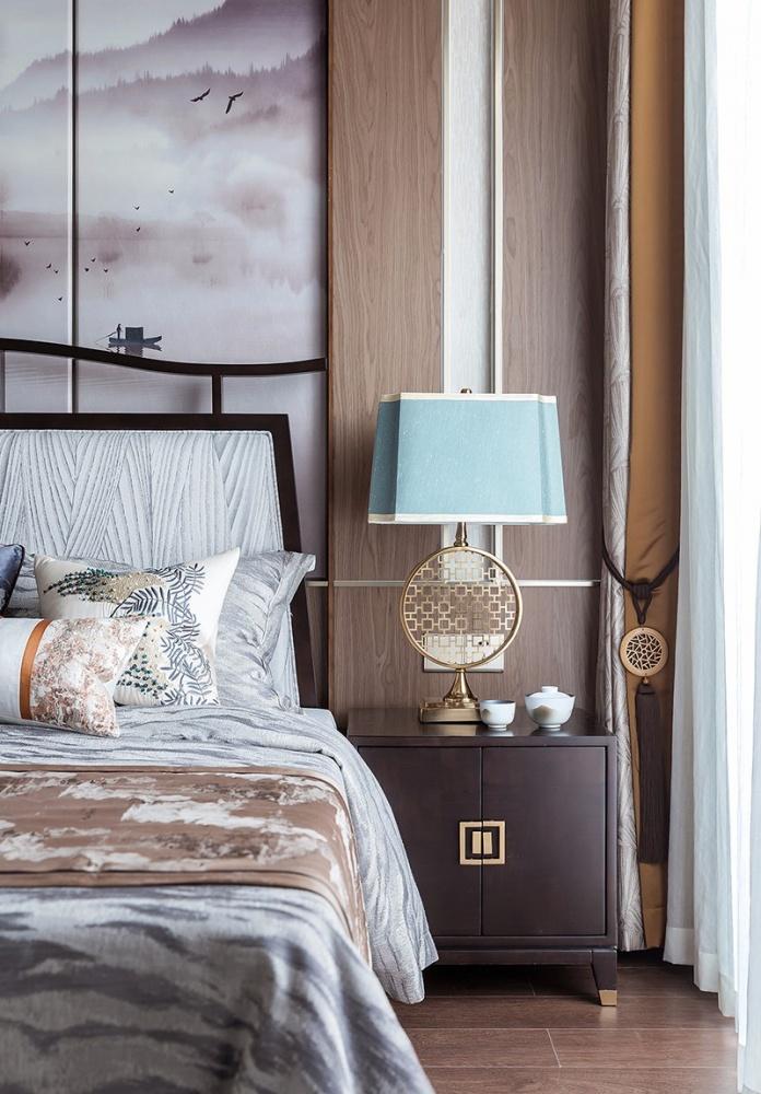 雅奢东方中式卧室床头柜设计卧室1图中式现代卧室设计图片赏析