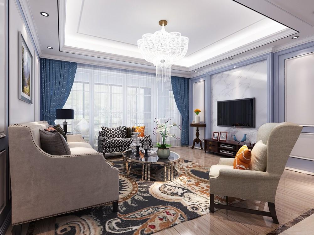 简美四房:时尚中透着复古,精致中蕴藏洒脱客厅美式经典客厅设计图片赏析