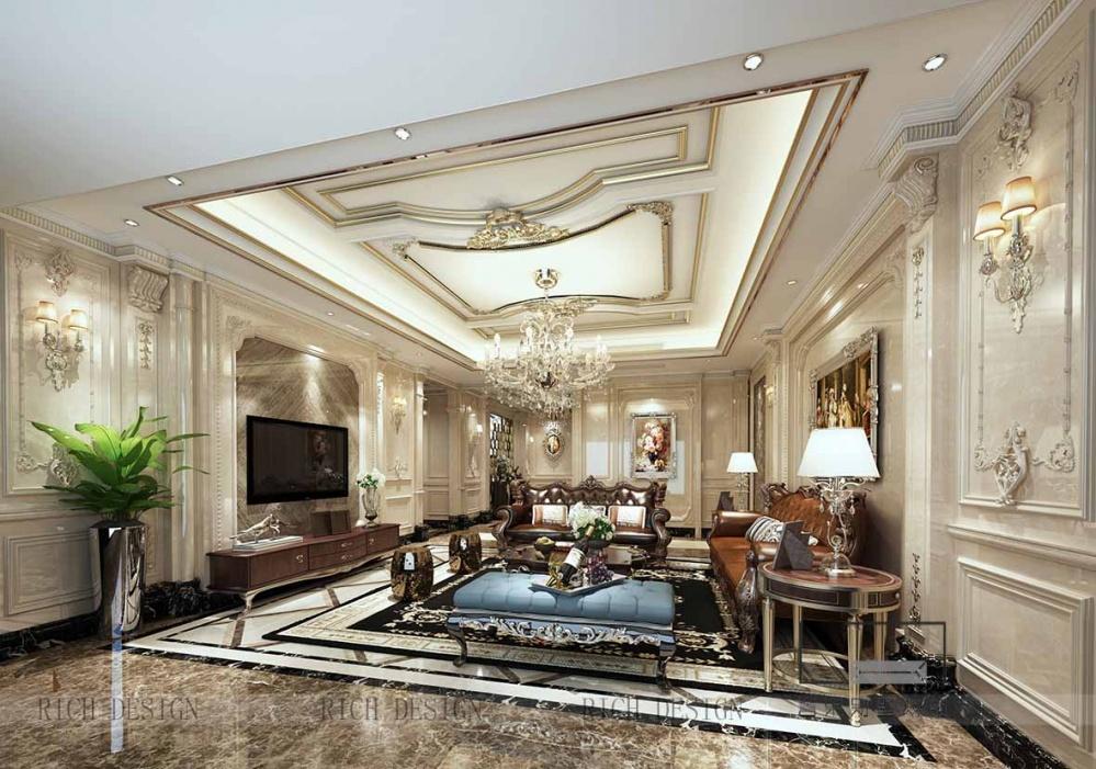 深圳装修公司中洲中央公园欧式装修风格客厅欧式豪华客厅设计图片赏析