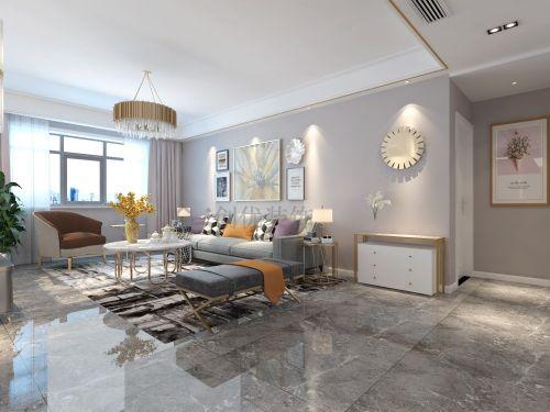 轻奢风融侨观澜客厅窗帘三居现代简约家装装修案例效果图