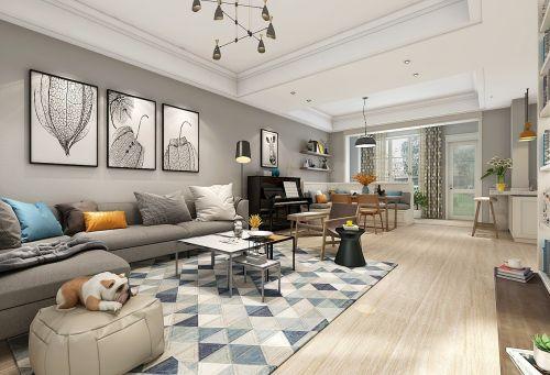阜阳山水案例:高速时代城北欧复式客厅沙发201-500m²北欧极简家装装修案例效果图