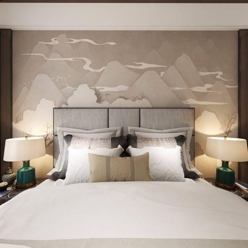 俊豪城西区大平层【样板改造】卧室床头柜121-150m²四居及以上中式现代家装装修案例效果图
