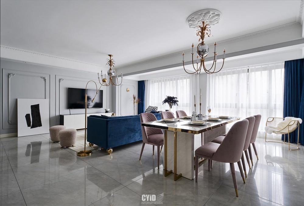 【莫妮卡】混搭风客厅餐厅一体设计客厅
