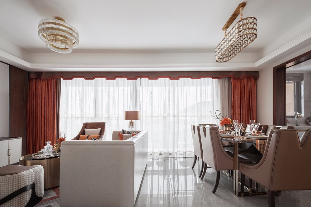 F户型样板房客厅餐厅一体设计客厅