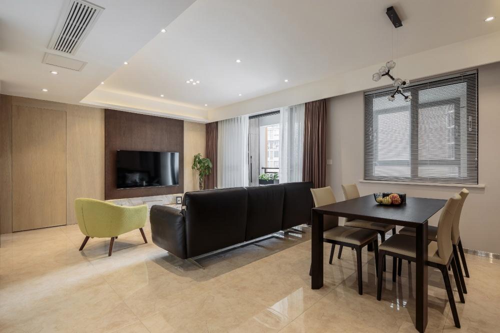 明亮简洁现代客厅餐厅一体设计客厅