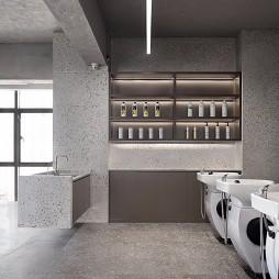 现代工业风理发店洗发区设计图