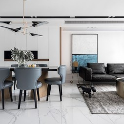 黑白系现代三居餐厅实景图片
