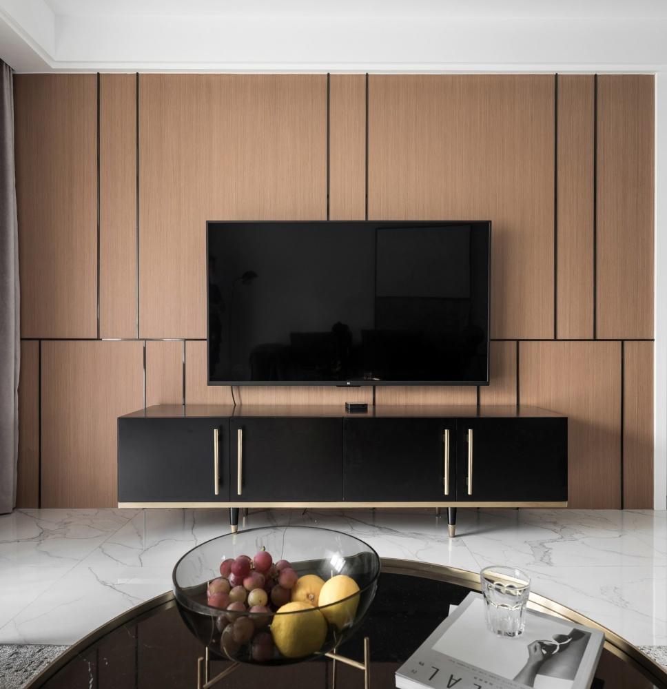 黑白系现代三居客厅电视柜设计客厅现代简约客厅设计图片赏析
