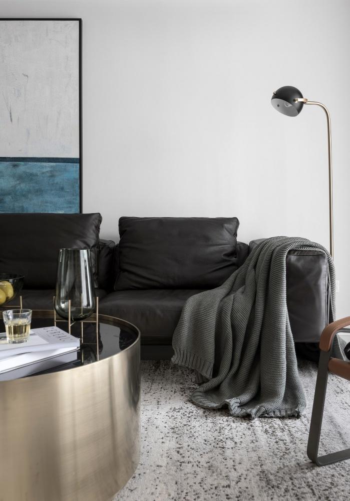 黑白系现代三居客厅落地灯图片客厅现代简约客厅设计图片赏析