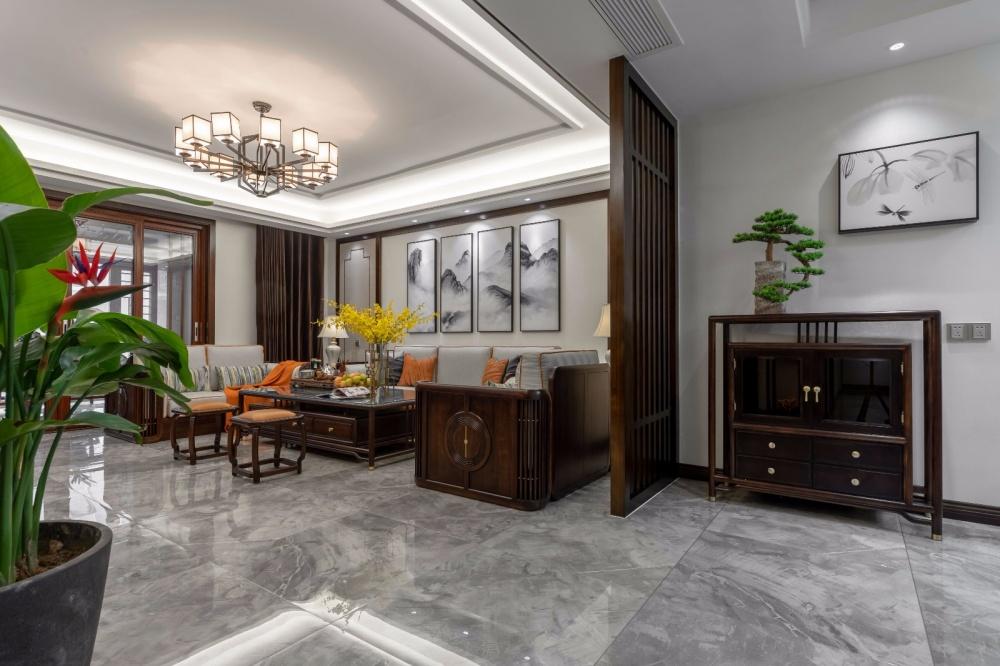 这个装饰公司把新中式做的美逆天了!客厅窗帘1图美式经典客厅设计图片赏析