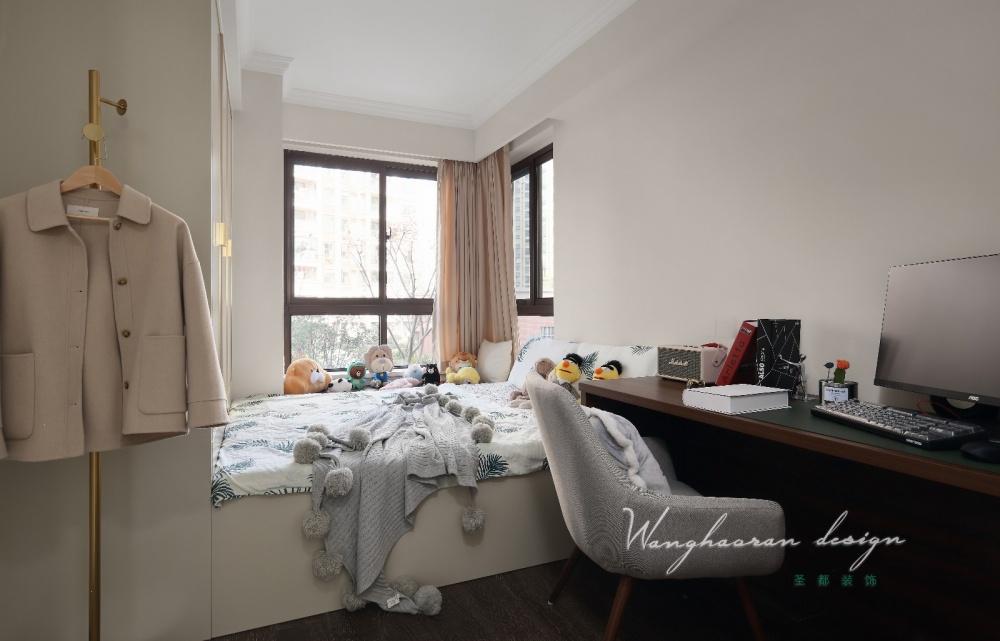 精致浅咖次卧设计图卧室木地板潮流混搭卧室设计图片赏析
