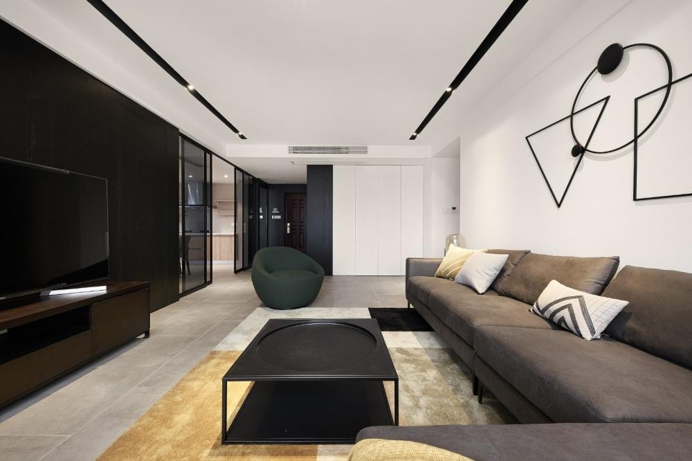 极简风客厅茶几图片客厅电视背景墙现代简约客厅设计图片赏析