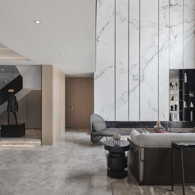 大连璞石墅底跃样板间客厅设计