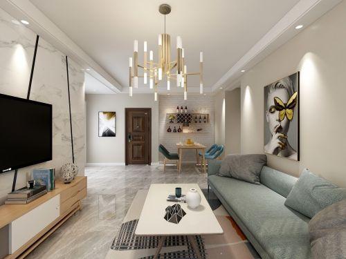 百年世家客厅电视背景墙三居现代简约家装装修案例效果图