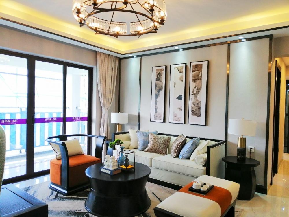 鹤山市清华苑君汇08户型样板房客厅中式现代客厅设计图片赏析