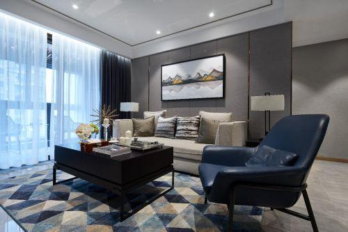 现代客厅窗帘81-100m²二居现代简约家装装修案例效果图