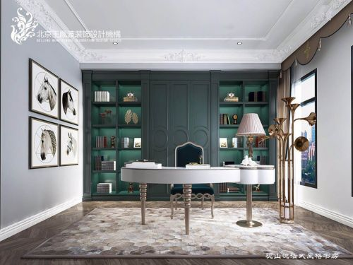 法式风格设计功能区书柜61-80m²二居欧式豪华家装装修案例效果图