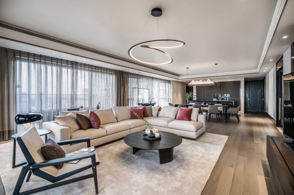 轻奢新中式客厅吊灯图片客厅中式现代客厅设计图片赏析