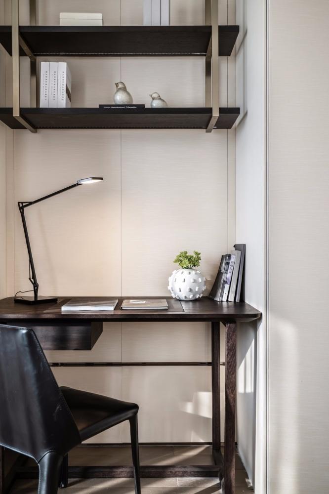 轻奢新中式次卧书桌设计功能区中式现代功能区设计图片赏析