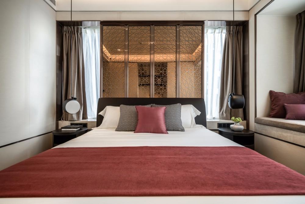 轻奢新中式次卧设计图卧室床中式现代卧室设计图片赏析