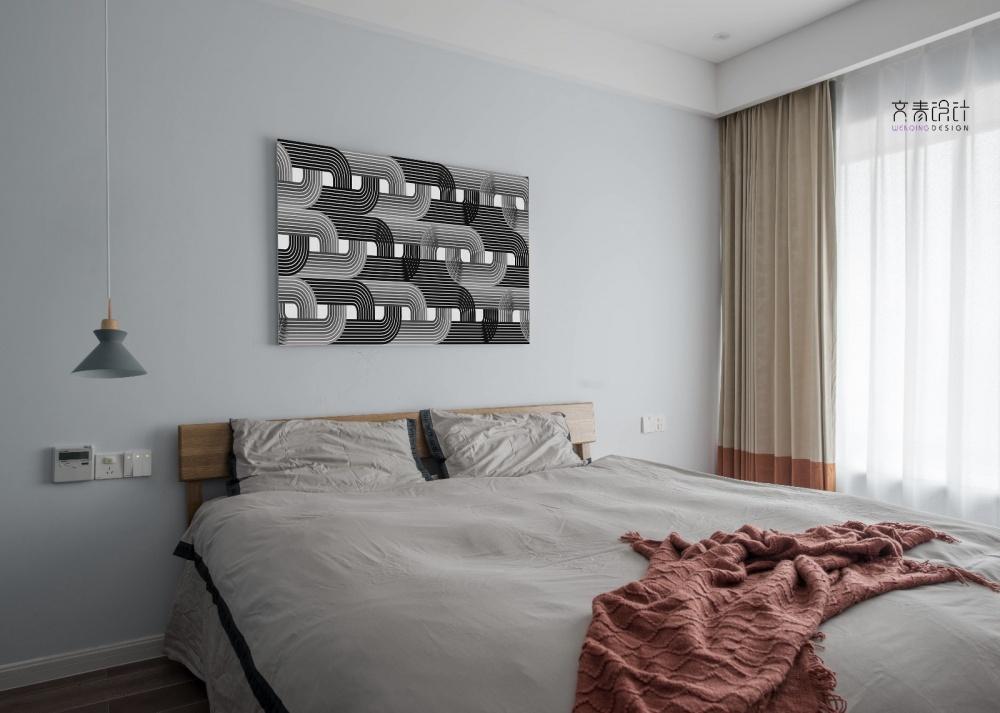 现代复古次卧设计卧室窗帘现代简约卧室设计图片赏析