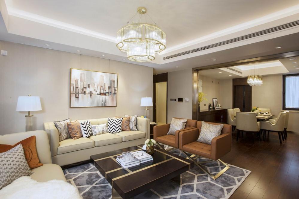 万科翡翠公园现代轻奢软装设计客厅现代简约客厅设计图片赏析